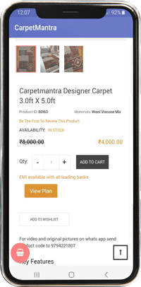 Carpet mantra mobile app view product page