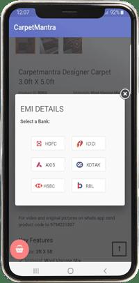 Carpet mantra mobile app view emi