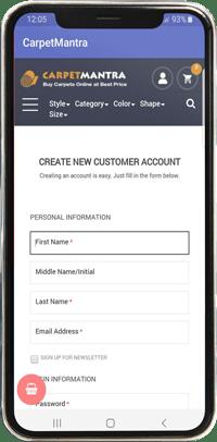 Carpet mantra mobile app view registration