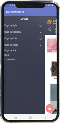 Carpet mantra mobile app view menu