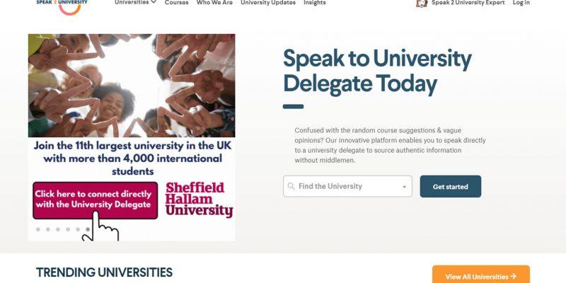 Speak2University Homepage